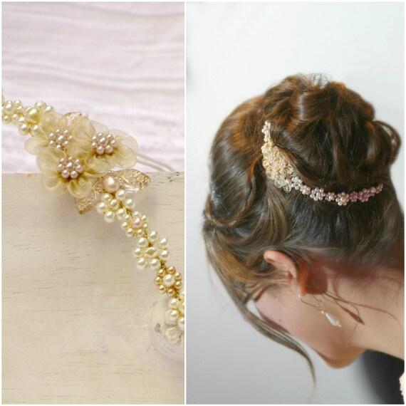 PEARL FLOWER CROWN bridal flower crown gold flower crown wedding tiara pearl gold hair vine bridal gold hair flowers gold pearl headband