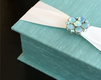 Keepsake Box with a Vintage Jewel. Shown in Aqua and Ivory. Custom Order.
