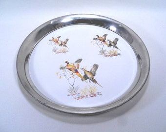 Revere Pewter and Porcelain Pheasant Serving Tray Vintage 50s