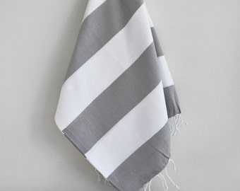 SALE 70 OFF/ Turkish Beach Bath Towel / Classic Peshtemal / Gray White / Wedding Gift, Spa, Swim, Pool Towels and Pareo
