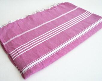 SALE 50 OFF / Classic Blanket / Fuschia / Twin / Beach blanket, Picnic blanket, Sofa throw, Tablecloth, Bedcover