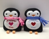 Valentine Penguin Stuffed Animal, Valentine Gift, I Flippin' Love You Penguin Stuffie, Baby Valentine Gift