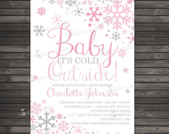 Girl Baby Its Cold Outside Baby Shower Invitation Printable - Pink Gray Winter Wonderland Baby Shower Invite - Winter Baby Shower Invitation