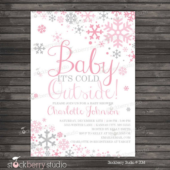 girl baby its cold outside baby shower invitation printable, Baby shower invitations