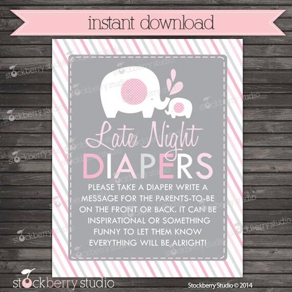 Girl Elephant Baby Shower Late Night Diaper Game Printable Diaper