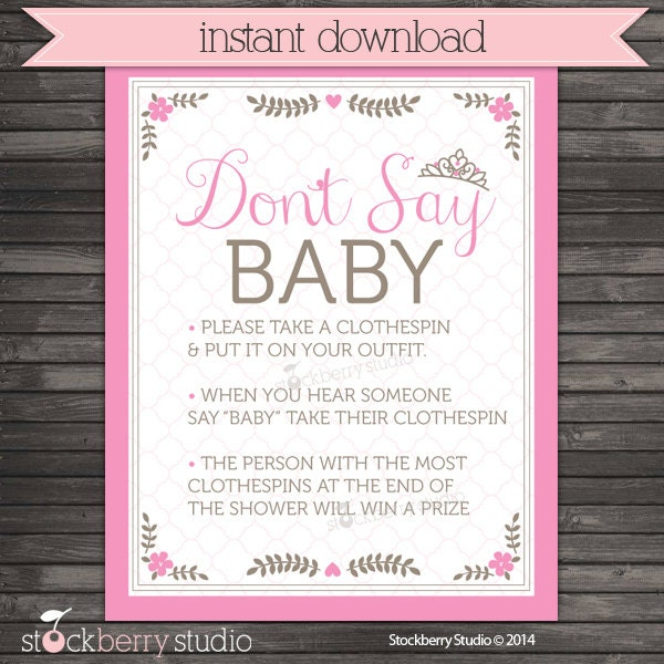 princess baby shower don 39 t say game printable pink baby