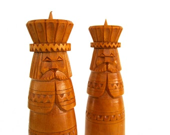 Vintage Wood Candle Holders Candlestick Pair Hand Carved Scandinavian Mustache Chess Pillar Candleholder