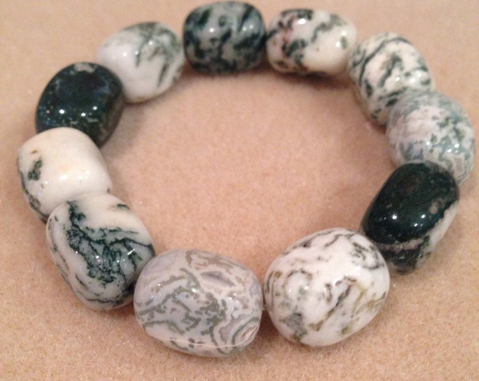 Tree Agate Huge Nugget Bracelet with Sterling Silver Accent