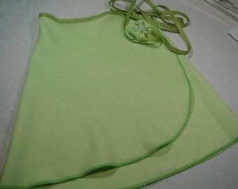 Spring Green Crepe Ballet Wrap Skirt, Adult, 14 inch