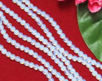 5 Strand White opalite 4mm round Loose Beads