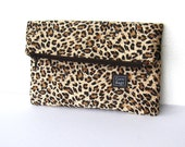 fabric clutch, animal print, fold over purse, brown purse, leopard print