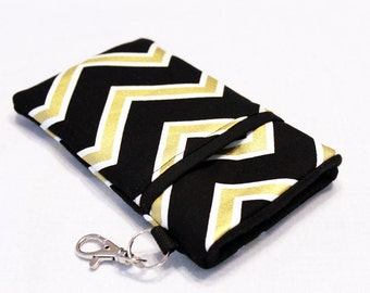 iPhone 7 Plus Case, Cell Phone Pouch, iPhone Phone Case, Huawei P8 Lite Case, LG G5 Case, HTC One M7 Case, Huawei Case-Gold Chevron