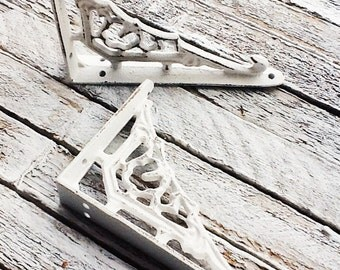 Small Iron Brackets,In Shabby White Cast Iron,Country Home,Bathroom Fixture,Small Brackets,Anthropologie Home,Aqua Mist,Creamy Ivory White