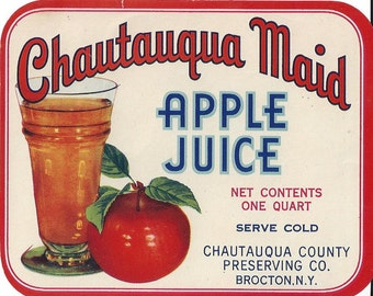 Chautauqua Maid Apple Juice Vintage Label, 1940s