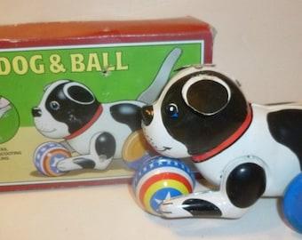 Schylling Dog & Ball Vintage Tin Toy, 1980s