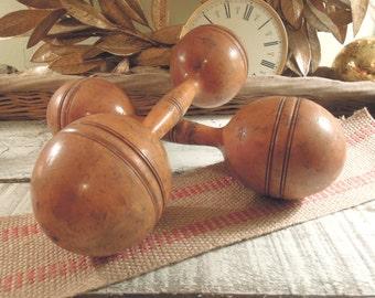 Vintage / Antique Wood Weights / Dumbbells / Set of Two / Wood Barbells