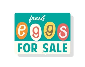 "Fresh Eggs For Sale Sign 12"" x 9"" Retro"
