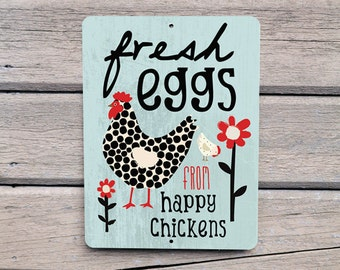 """Fresh Eggs from Happy Chickens - Aluminum Outdoor Sign-  9X12"""" mineral blue"""