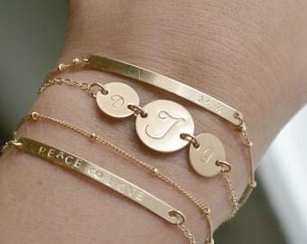 Personalized Initial Disc Bracelet , GOLD Layering Bracelets, Beaded Dainty Bracelet, Long Nameplate Bracelet, Thin Bar Bracelet, Skinny Bar