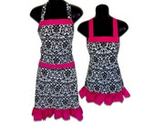 Mother and Daughter Matching Set Aprons // Black and White Damask with Pink Trim Print Aprons