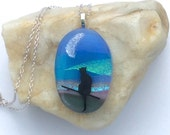 Cat in the Moolight- Fused Glass Landscape Pendant