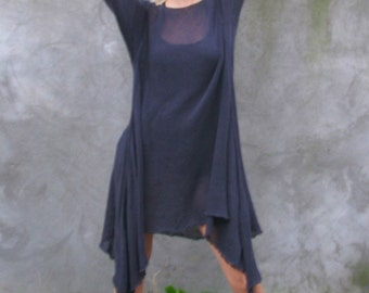 charcoal grey...loose fit tunic  -  S...M...L...XL - lagenlook tunic -  High Low  transparent Tunic hand knit 100% Cotton hand knit