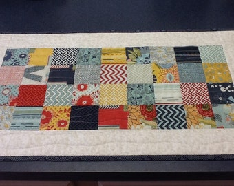 Red White Blue and Gold Quilted Table Runner