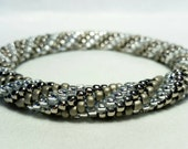 Crystal Silver Spiral Bead Crochet Bangle - Ready to Ship