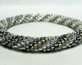 Crystal Silver Spiral Seed Bead Crochet Bangle - Ready to Ship