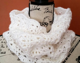 White Shells Crocheted Cowl - Ready to Ship