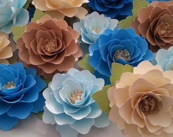 Paper Flowers - Weddings - Birthdays - Elizabeth Rose - Shades of Blue and Tan - Set of 50 - ANY COLOR - Made To Order