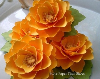 Paper Flowers - Weddings - Birthdays - Elizabeth Rose - Sunshine Yellow - Set of 25 - ANY COLOR - Made To Order