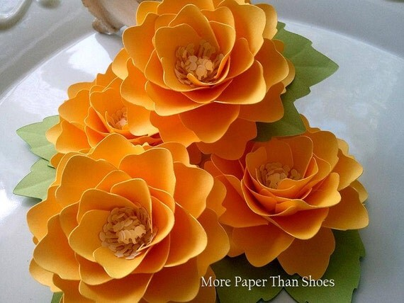 Paper Flowers - Weddings - Placecards - Elizabeth Rose - Sunshine Yellow - Set of 25 - ANY COLOR - Made To Order