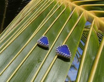 Elegant Cobalt Sea Glass Post Earrings (S42)