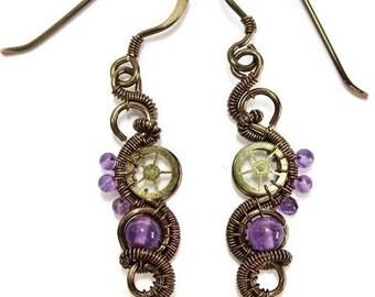 Amethyst & Bronze Steampunk Earrings - Steampunk Jewelry