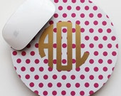 METALLIC SWISS DOTS mousepad - with gold or silver foil monogram