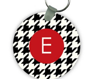 HOUNDSTOOTH keychain with monogram