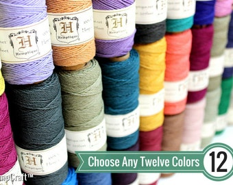 Hemp Craft Cord, 12 Spool Deal, Choose Your Colors, 1mm Polished Hemp Jewelry Cord