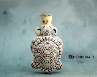 Sea Turtle Pendant, Ceramic High Fired Vessel Bottle with Cork