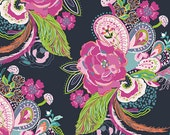 Navy Floral Nib and Pluck Zinna Cotton Voile Fabric Petal and Plume by Art Gallery, 1 yard