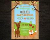 Rustic Woodland Invitation, Woodland Baby Shower, Forest Shower Invitations, printable invite, deer, raccoon, diy invitation