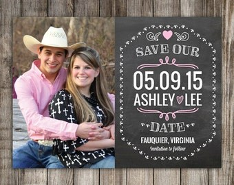 25 Chalkboard Save the Date Magnets, Cards, printable digital file customized with your photo -- Free customization in any color