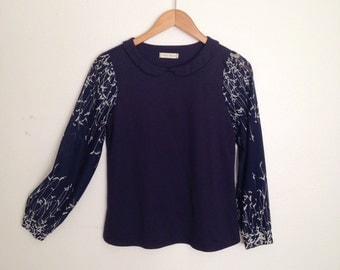 Ooak upcycled navy blouse