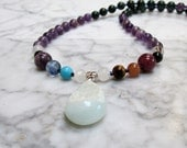Fairy Faerie Magic Ritual Natural Stone and Crystal Full Spectrum Chakra Balancing Necklace with Druzy Avalonite Pendant