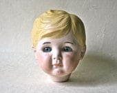 SaLe - Large Painted Porcelain Doll Head with Blonde Hair and Blue Eyes for Doll Making and Display