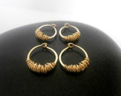 Extra Small Huggie Hoop 9mm Small Gold Hoops Tiny Sleeper Earring Hammered Wire Jewelry