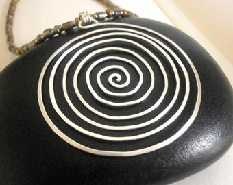 Silver Spiral Necklace Large Silver Circle Pendant Labyrinth Necklace Swirl Pendant Hammered Wire Jewelry