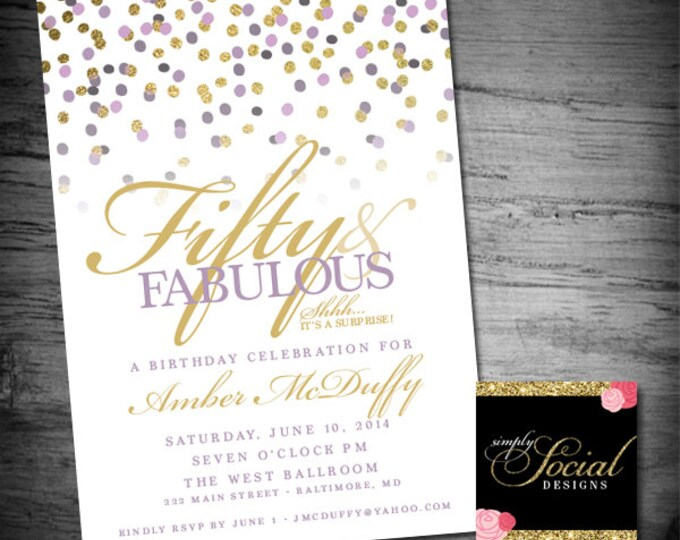 Glitter Glam Confetti Surprise 60th 50th 40th 30th Birthday Party Invitation Fifty and Fabulous Forty and Fabulous PRINTABLE