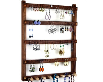 Jewelry Display, Wooden Earring Organizer, Wall Mount, Black Walnut, Necklace Holder. 72 pairs, 8 pegs. Jewelry Organizer