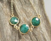 Raw Emerald Necklace Triple Gemstone Connector Necklace 14K Gold Fill